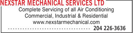 Nexstar Mechanical Services Ltd (204-226-3636) - Annonce illustrée======= -