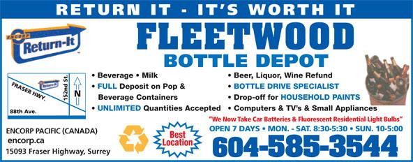 Fleetwood Bottle Return Depot Ltd (604-585-3544) - Display Ad -