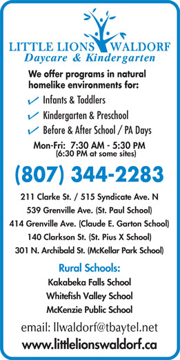 Ads Little Lions Waldorf Daycare & Kindergarten