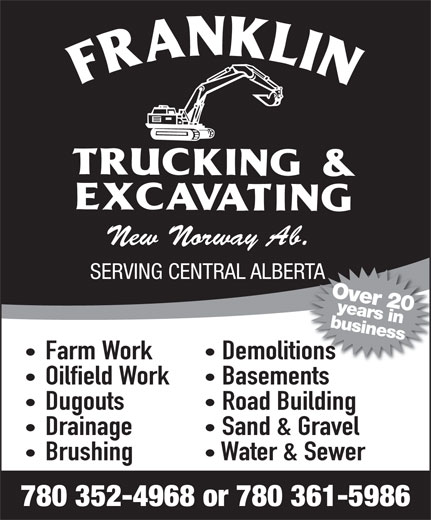 Franklin Trucking & Excavating (780-352-4968) - Annonce illustrée======= -