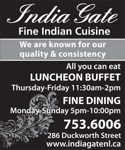 India Gate Restaurant (709-753-6006) - Annonce illustrée======= -