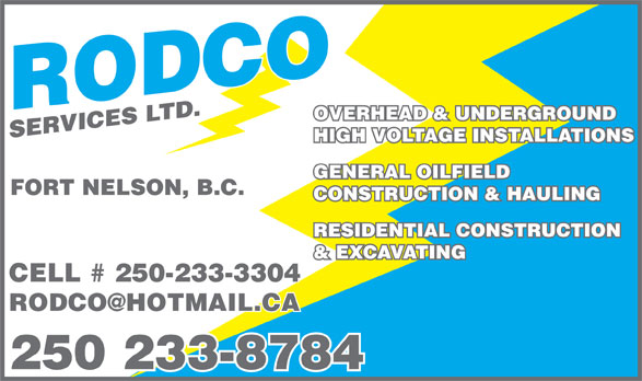 Rodco Services (250-233-8784) - Display Ad -