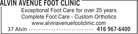 Alvin Avenue Foot Clinic (416-967-6400) - Display Ad - Exceptional Foot Care for over 25 years Complete Foot Care - Custom Orthotics www.alvinavenuefootclinic.com  Exceptional Foot Care for over 25 years Complete Foot Care - Custom Orthotics www.alvinavenuefootclinic.com  Exceptional Foot Care for over 25 years Complete Foot Care - Custom Orthotics www.alvinavenuefootclinic.com  Exceptional Foot Care for over 25 years Complete Foot Care - Custom Orthotics www.alvinavenuefootclinic.com  Exceptional Foot Care for over 25 years Complete Foot Care - Custom Orthotics www.alvinavenuefootclinic.com  Exceptional Foot Care for over 25 years Complete Foot Care - Custom Orthotics www.alvinavenuefootclinic.com