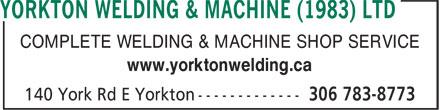 Yorkton Welding & Machine (1983) Ltd (306-783-8773) - Annonce illustrée======= - COMPLETE WELDING & MACHINE SHOP SERVICE www.yorktonwelding.ca