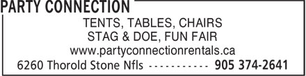 Party Connection (905-374-2641) - Display Ad - STAG & DOE, FUN FAIR www.partyconnectionrentals.ca TENTS, TABLES, CHAIRS