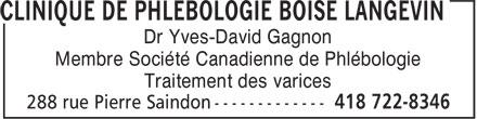 Ads Clinique de Phlébologie Boisé Langevin