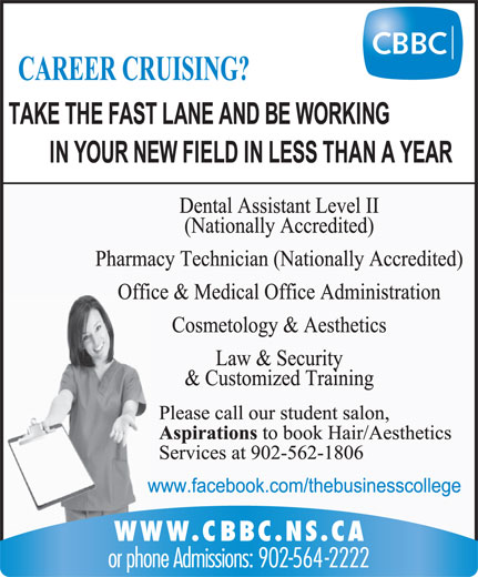 Cape Breton Business College (902-564-2222) - Display Ad -