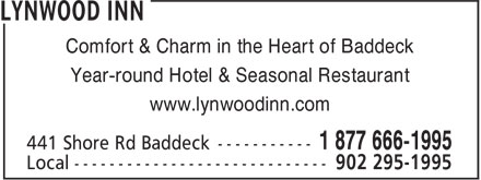 Lynwood Inn (902-295-1995) - Annonce illustrée======= - Comfort & Charm in the Heart of Baddeck Year-round Hotel & Seasonal Restaurant www.lynwoodinn.com