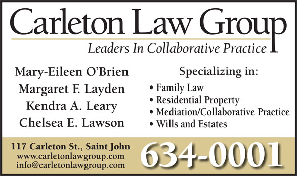 Carleton Law Group (506-634-0001) - Display Ad -