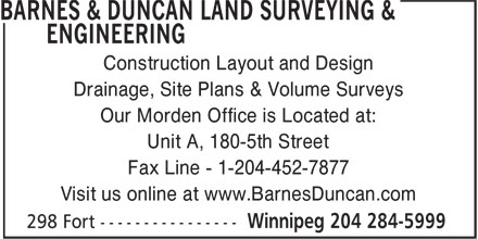 Barnes & Duncan Land Surveying & Engineering (204-284-5999) - Display Ad -