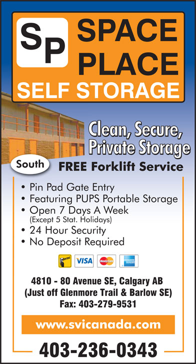 Space Place Self Storage South (403-236-0343) - Display Ad -