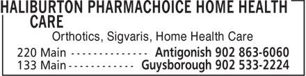 Haliburton PharmaChoice (902-863-6060) - Annonce illustrée======= - Orthotics, Sigvaris, Home Health Care
