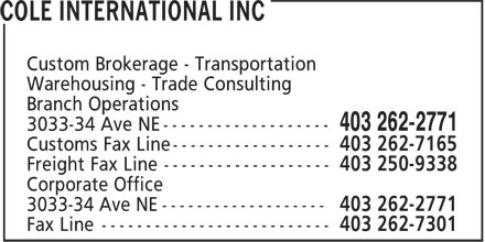 Cole International (403-262-2771) - Display Ad -