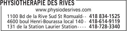 Physiothérapie des Rives Inc (418-834-1525) - Annonce illustrée======= - www.physiodesrives.com