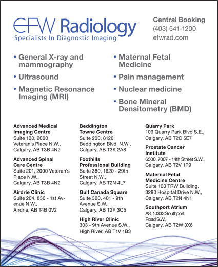 EFW Radiology (403-541-1200) - Annonce illustrée======= -