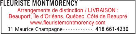 Montmorency Fleuriste Enr (418-661-4230) - Annonce illustrée======= - Arrangements de distinction / LIVRAISON : Beauport, Île d'Orléans, Québec, Côté de Beaupré www.fleuristemontmorency.com