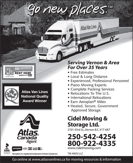 Cidel Moving & Storage Ltd (250-542-4254) - Annonce illustrée======= -