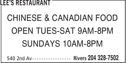 Lee's Restaurant (204-328-7502) - Annonce illustrée======= - CHINESE & CANADIAN FOOD OPEN TUES-SAT 9AM-8PM SUNDAYS 10AM-8PM
