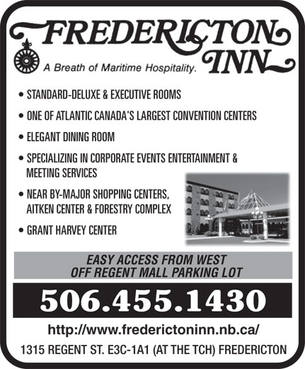 Fredericton Inn (506-455-1430) - Annonce illustrée======= -