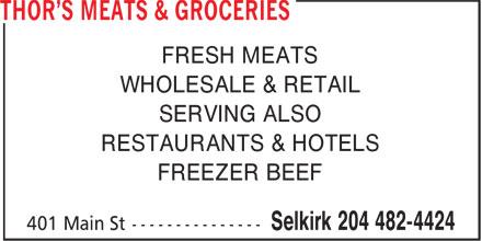 Thor's Meats & Groceries (204-482-4424) - Annonce illustrée======= -