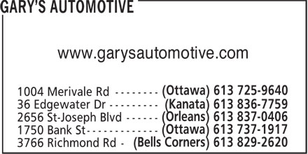 Gary's Automotive (613-725-9640) - Display Ad -