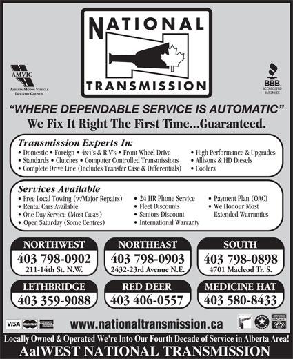 National Transmissions 4701 Macleod Trail Sw Calgary Ab