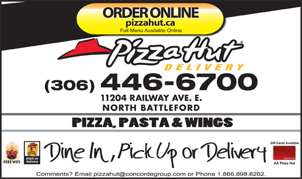 Pizza Hut (306-446-6700) - Annonce illustrée======= - ORDER ONLINE pizzahut.ca (306) 446-6700 11204 RAILWAY AVE. E. NORTH BATTLEFORD Free Wifi