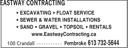Eastway Developments (613-732-5644) - Display Ad - • EXCAVATING • FLOAT SERVICE • SEWER & WATER INSTALLATIONS • SAND • GRAVEL • TOPSOIL • RENTALS www.EastwayContracting.ca