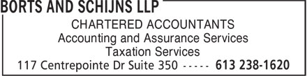 Borts And Schijns LLP (613-238-1620) - Display Ad - CHARTERED ACCOUNTANTS Accounting and Assurance Services Taxation Services