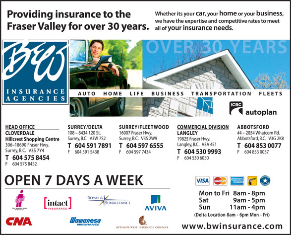 B & W Insurance Brokers (604-591-7891) - Display Ad - (Delta Location 8am - 6pm Mon - Fri) (Delta Location 8am - 6pm Mon - Fri)