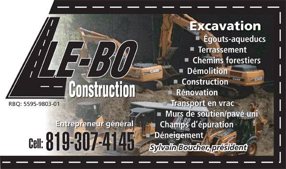 LE-BO Construction Inc (819-775-6145) - Display Ad -