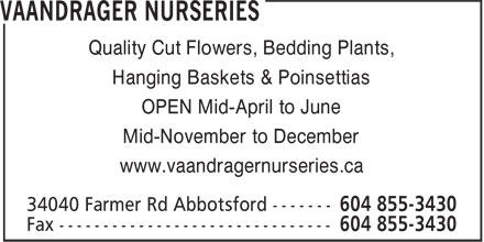 Vaandrager Nurseries (604-855-3430) - Display Ad - Quality Cut Flowers, Bedding Plants, Hanging Baskets & Poinsettias OPEN Mid-April to June Mid-November to December www.vaandragernurseries.ca