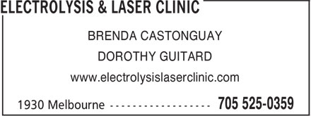 Electrolysis Clinic (705-525-0359) - Display Ad - BRENDA CASTONGUAY DOROTHY GUITARD www.electrolysislaserclinic.com