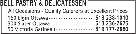 Bell Pastry & Delicatessen (613-238-1010) - Display Ad - All Occasions - Quality Caterers at Excellent Prices