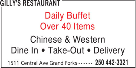 Gilly's Restaurant (250-442-3321) - Annonce illustrée======= - Dine In ¿ Take-Out ¿ Delivery Over 40 Items Daily Buffet Chinese & Western