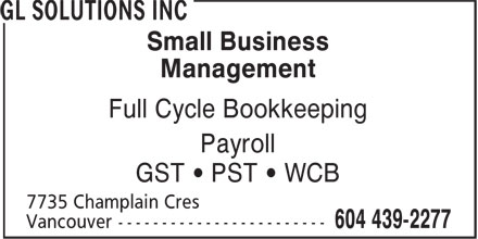 Gl Business Solutions Inc (604-439-2277) - Annonce illustrée======= - Small Business Management Full Cycle Bookkeeping Payroll GST ¿ PST ¿ WCB