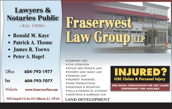 Fraserwest Law Group (604-792-1977) - Display Ad -