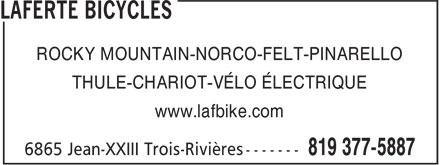 Laferté Bicycles (819-377-5887) - Annonce illustrée======= - ROCKY MOUNTAIN-NORCO-FELT-PINARELLO THULE-CHARIOT-VÉLO ÉLECTRIQUE www.lafbike.com