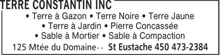 Terre Constantin Inc (450-473-2384) - Display Ad -