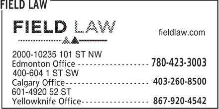 Field Law (780-423-3003) - Annonce illustrée======= - fieldlaw.com fieldlaw.com