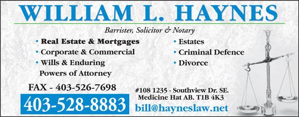 Haynes William L Professional Corp (403-528-8883) - Annonce illustrée======= -
