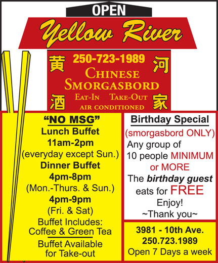 Yellow River Restaurant (250-723-1989) - Display Ad - OPEN