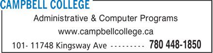 Campbell College Ltd (780-448-1850) - Annonce illustrée======= - Administrative & Computer Programs www.campbellcollege.ca Administrative & Computer Programs www.campbellcollege.ca