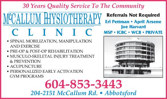 McCallum Physiotherapy Clinic (604-853-3443) - Annonce illustrée======= -