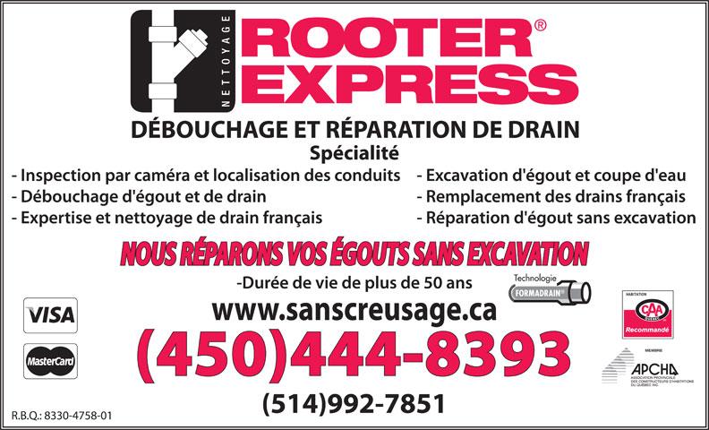 Rooter Express (450-444-8393) - Annonce illustrée======= - Technologie FORMADRAIN MEMBRE