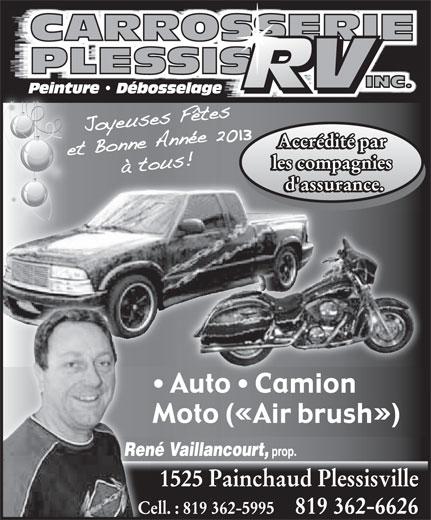 Carrosserie Plessis R V Inc (819-362-6626) - Annonce illustrée======= -