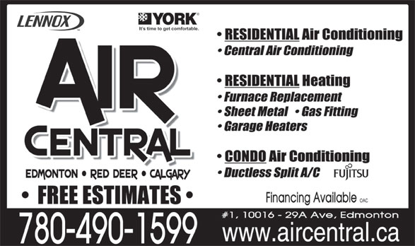Air Central (780-490-1599) - Annonce illustrée======= -