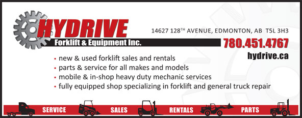 Hydrive Forklift & Equipment Inc (780-451-4767) - Display Ad - 14627 128 AVENUE, EDMONTON, AB  T5L 3H3 Forklift & Equipment Inc. 780.451.4767 hydrive.ca new & parts & service for all makes and models mobile & in-shop heavy duty mechanic services SERVICE PARTS SALES RENTALS 14627 128 AVENUE, EDMONTON, AB  T5L 3H3 Forklift & Equipment Inc. 780.451.4767 hydrive.ca new & parts & service for all makes and models mobile & in-shop heavy duty mechanic services SERVICE PARTS SALES RENTALS TH TH