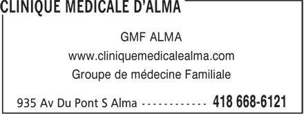 Clinique Médicale D'Alma (418-668-6121) - Annonce illustrée======= - GMF ALMA www.cliniquemedicalealma.com Groupe de médecine Familiale