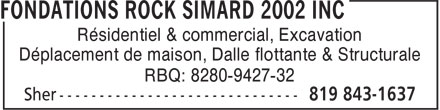 Ads Fondations Rock Simard 2002 Inc